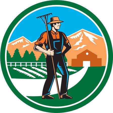 farm implement: Illustration of organic farmer with rake facing side set inside circle with mountain trees house farm barn in the background done in retro woodcut style.