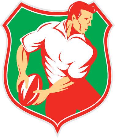 passing: Ilustraci�n de un jugador de rugby pasando la bola mirando al conjunto de lado dentro cresta escudo sobre fondo aislado hecho en estilo retro.