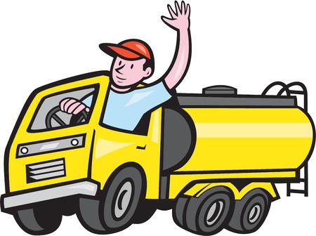 Illustratie van een tankwagen benzine tankwagen met chauffeur hallo zwaaien op witte achtergrond gedaan in cartoon stijl.