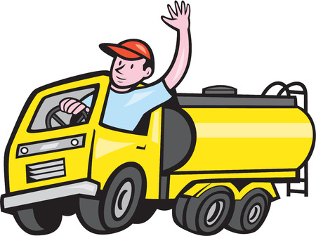 Illustration of a tanker truck petrol tanker with driver waving hello on isolated white background done in cartoon style. Illustration
