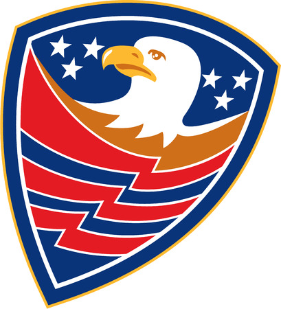 Illustration of an american bald eagle head with american stars and stripes set inside a shield crest done in retro style. Vector