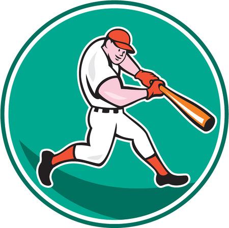 bateo: Ilustraci�n de un jugador de b�isbol de bateo americano fij� el c�rculo interior en el fondo aislado hecho en estilo de dibujos animados. Vectores