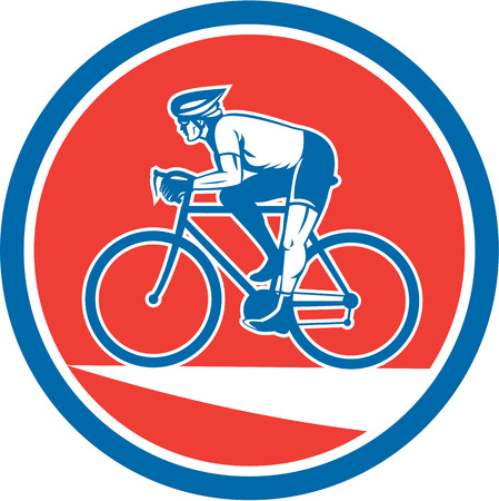 bike riding: Illustration of a cyclist biking riding mountain bike viewed from the side set inside circle on isolated background done in retro style. Illustration
