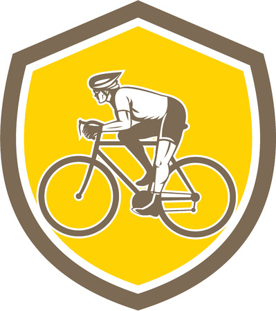 bike riding: Illustration of a cyclist biking riding mountain bike viewed from the side set inside shield crest on isolated background done in retro style.