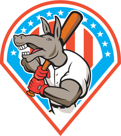 baseball diamond: Illustration of a donkey baseball player holding bat on shoulder batting set inside diamond with american stars and stripes in the background done in cartoon style. Illustration