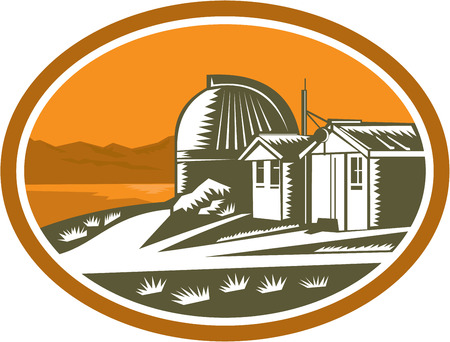 observatory: Illustration of the Mt John University Observatory in Lake Tekapo, New Zealand set inside oval done in retro woodcut style.
