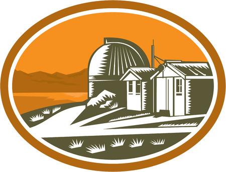 john: Illustration of the Mt John University Observatory in Lake Tekapo, New Zealand set inside oval done in retro woodcut style.