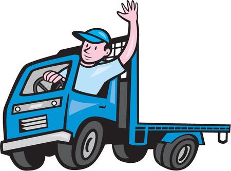 こんにちは漫画のスタイルで行われる分離の白い背景の上に手を振ってドライバーとトラックの荷台のイラスト。