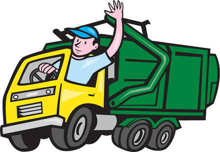 Illustration of a garbage rubbish truck with driver waving hello on isolated white background done in cartoon style. Stock Illustratie