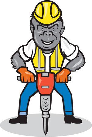 presslufthammer: Illustration eines Gorillas Affen Bauarbeiter stehend tragen Schutzhelm mit Presslufthammer auf weißem Hintergrund isoliert im Cartoon-Stil getan.