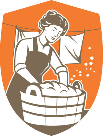Illustration of a housewife washing laundry using wooden bucket with clothes hanging in line set inside shield crest shape done in retro style. Vector