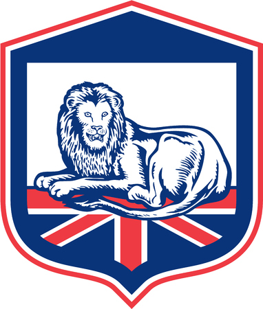 Illustration of a lion lying viewed from the front set inside shield crest with british flag in the background done in retro style. Vector