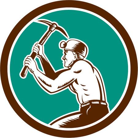 bauarbeiterhelm: Illustration eines Kohlenbergmann Helm mit gekreuzten Spitzhacke arbeiten von Set innerhalb des Kreises auf isolierte Hintergrund im Retro-Stil Seite betrachtet.