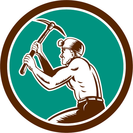 pick axe: Illustration of a coal miner hardhat with crossed pick axe working viewed from the side set inside circle on isolated background done in retro style.