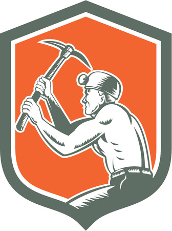 miner: Illustration of a coal miner hardhat with crossed pick axe working viewed from the side set inside shield crest on isolated background done in retro style. Illustration