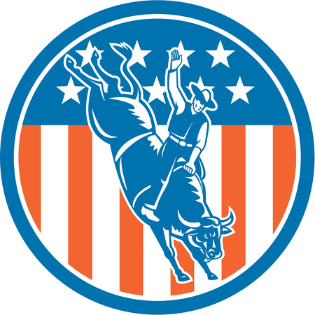 Illustration of rodeo cowboy riding bucking bull set inside circle with american stars and stripes in the background done in retro style. Vector