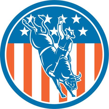 american rodeo: Ilustraci�n del vaquero del rodeo que monta tronzado toro fij� el c�rculo interior con barras y estrellas estadounidenses en el fondo hecho en estilo retro. Vectores