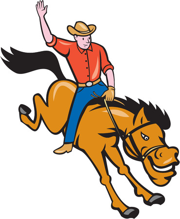 bucking bronco: Illustration of rodeo cowboy riding bucking horse bronco on isolated white background done in cartoon style.