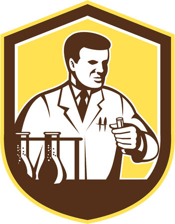 chemists: Illustration of scientist laboratory researcher chemist holding test tube with flasks set inside shield crest on isolated background done in retro style.