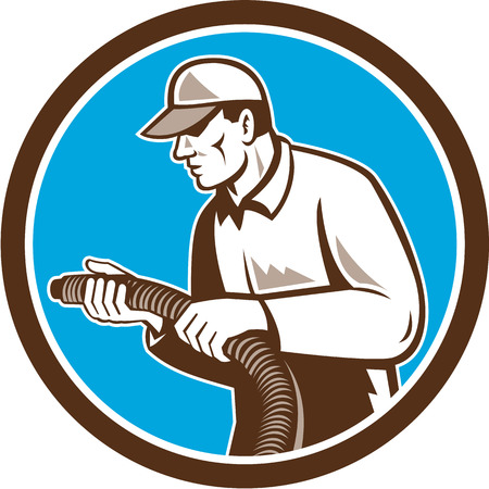 Illustration of a home insulation technician tradesman worker holding insulation pipe tubing set inside circle facing side done in retro woodcut style on isolated background.