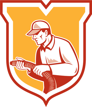 Illustration of a home insulation technician tradesman worker holding insulation pipe tubing set inside shield crest facing side done in retro woodcut style on isolated background. Illustration