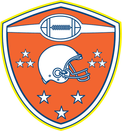 american football helmet set: Illustration of an american football helmet viewed from the side with ball and stars set inside shield crest on isolated background done in retro style.