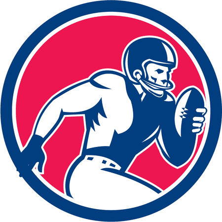 Illustration of an american football gridiron player holding ball running rushing viewed from the side set inside circle on isolated background done in retro style.