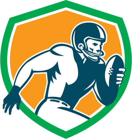 Illustration of an american football gridiron player holding ball running rushing viewed from the side set inside shield crest on isolated background done in retro style.