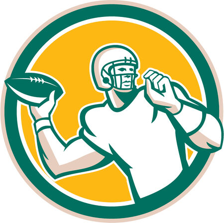 quarterback: Illustration of an american football gridiron quarterback qb throwing ball set inside circle on isolated background done in retro style. Illustration