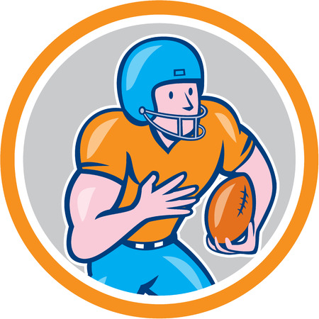 scat: Illustration of an american football gridiron wide receiver player running with ball set inside circle on isolated background done in cartoon style.
