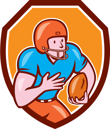 scat: Illustration of an american football gridiron wide receiver player running with ball set inside shield crest on isolated background done in cartoon style. Illustration