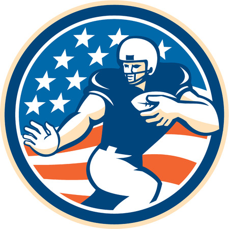 scat: Illustration of an american football gridiron player running back with ball fending facing front set inside circle with american stars and stripes in the background done in retro style.