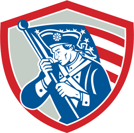 Illustration of an American Patriot revolutionary soldier waving USA stars and stripes flag looking to side set inside shield crest done in retro style Vector