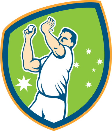 Illustration of an Australian cricket player fast bowler bowling with cricket ball set inside shield with stars in the background done in cartoon style. Vector