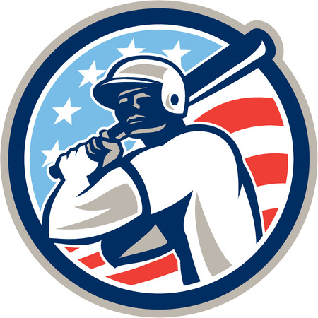 hitter: Illustration of a american baseball player batter hitter holding bat set inside circle with stars and stripes in the background done in retro style.