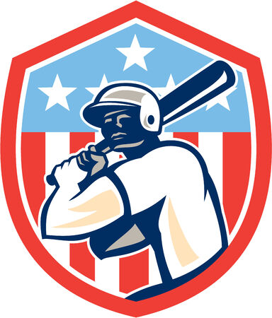 hitter: Illustration of a american baseball player batter hitter holding bat set inside shield crest with stars and stripes in the background done in retro style.