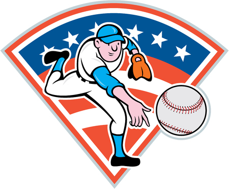 Illustration of an american baseball player pitcher outfilelder throwing ball set inside diamond shape with american stars and stripes flag in the background done in cartoon style. Vector
