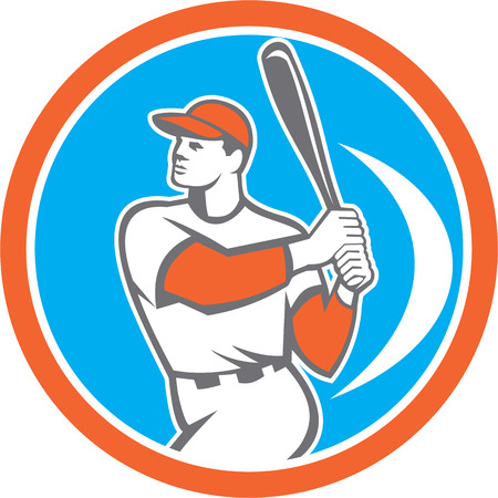 hitter: Illustration of an american baseball player batter hitter holding bat set inside circle on isolated background done in retro style.