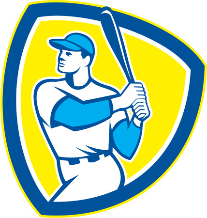 hitter: Illustration of an american baseball player batter hitter holding bat set inside shield crest on isolated background done in retro style.