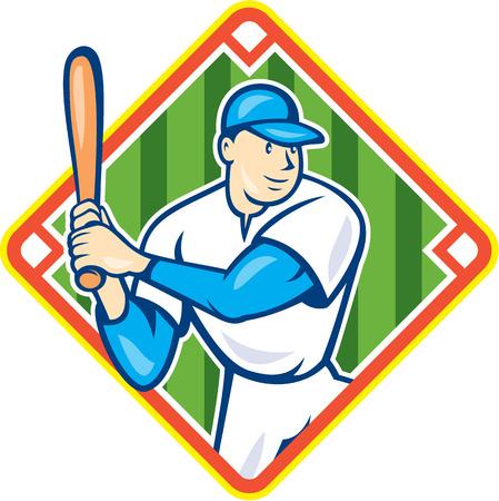 bateo: Ilustraci�n de un jugador de b�isbol americano celebraci�n bate de bateo conjunto dentro de la forma del diamante en el fondo aislado hecho en estilo de dibujos animados. Vectores