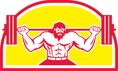 powerlifting: Illustration of a bodybuilder lifting barbell viewed from the front set inside half circle on isolated background done in retro style.