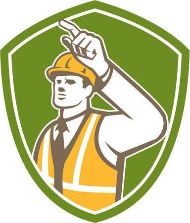 worker person: Illustration of a builder construction worker pointing looking to the side set inside shield crest on isolated background done in retro style.