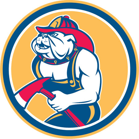 round collar: Illustration of a bulldog fireman firefighter holding axe facing side set inside circle on isolated background done in retro style.