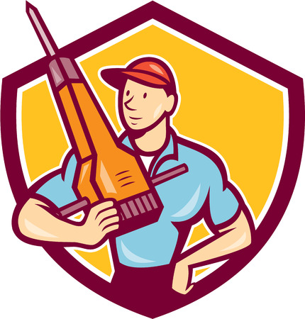 Illustration of a construction worker hnolding jack hammer pneumatic drill set inside shield crest on isolated background done in cartoon style. Vector