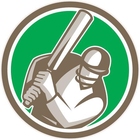 bateo: Ilustraci�n de un bateador del jugador del grillo con el palo de bateo frente al frente fij� el c�rculo interior hecho en estilo retro en el fondo aislado.