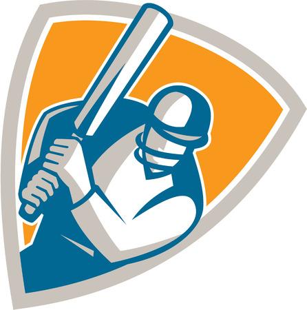 bateo: Ilustraci�n de un jugador de cricket bateador bateo con el bate de conjunto dentro de escudo protector en el fondo aislado hecho en estilo retro.