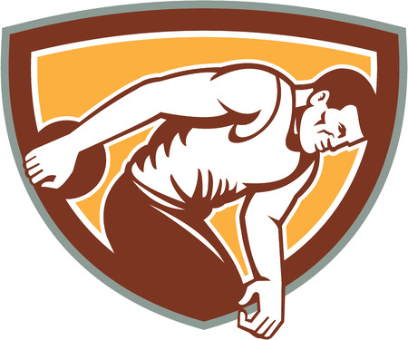 thrower: Illustration of a discus thrower set inside shield crest on isolated background done in retro style.