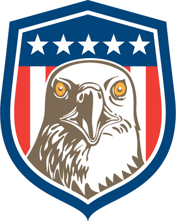 bald head: Illustration of an american bald eagle head facing front set inside shield crest with usa stars and stripes flag in the background done in retro style.
