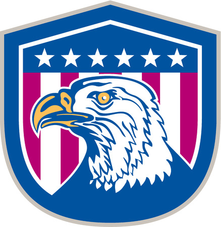 Illustration of an american bald eagle head facing side set inside shield crest with usa stars and stripes flag in the background done in retro style. Vector