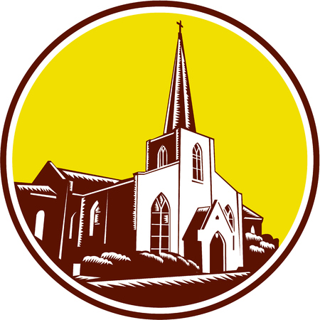 basilica: Illustration of the Trinity Parish a historic Episcopal Church in St. Augustine, Florida, , USA set inside circle done in retro woodcut style.